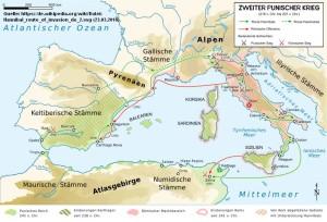 Route Hannibals für die Invasion Italiens