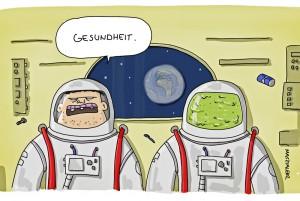 Bild: Credit Piero Masztalers Cartoons. Mehr von Masztalers superlustigen Cartoons hier: http://www.schoenescheisse.de/tag/astronauten/