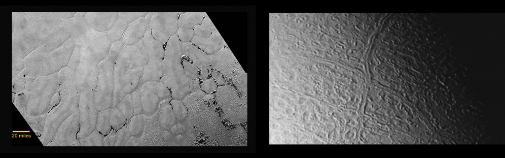"""Tombaugh Regio (das """"Herz"""" auf Pluto) besetzt solche Eisfelder mit Doppelrillen, mutmaßlich Risse im Eis (links).  Auch auf Triton gibt es solche Doppelrillen, hier im Canteloupe Terrain (links). Vorsicht: Skala des linken Bildes ist deutlich feiner, also nur einige Kilometer. (Bild: Public Domain / NASA / K.U.)"""