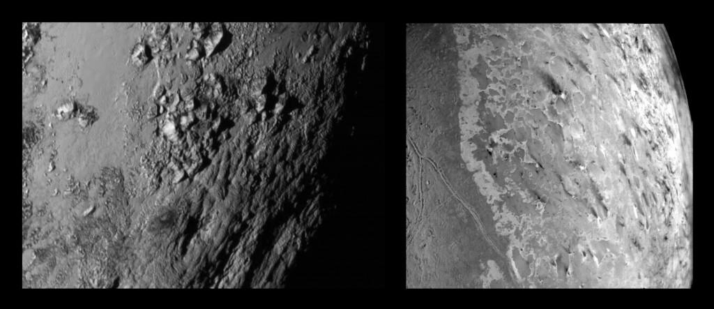 Nahaufnahmen: Pluto (links) mit rund 3500 Meter hohen Bergen, Triton (rechts) dafür mit dunklen Spuren von Geysiren (Bild: Public Domain  / NASA / K.U.)