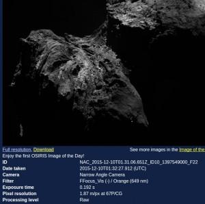 Die neue OSIRIS-Webcam (Bild: ESA/Rosetta/MPS for OSIRIS Team MPS/UPD/LAM/IAA/SSO/INTA/UPM/DASP/IDA)