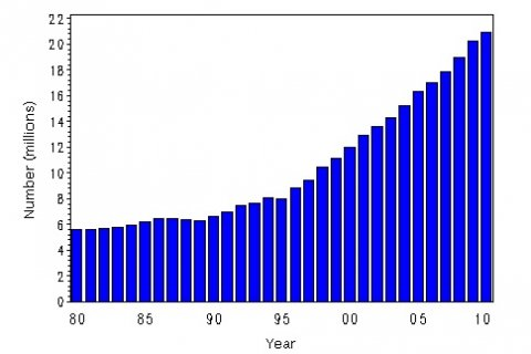 Percentages of the Population with Diagnosed Diabetes in the United States, 1980–2010.