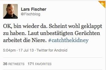 @Fischblogs erster Tweet postoperativ
