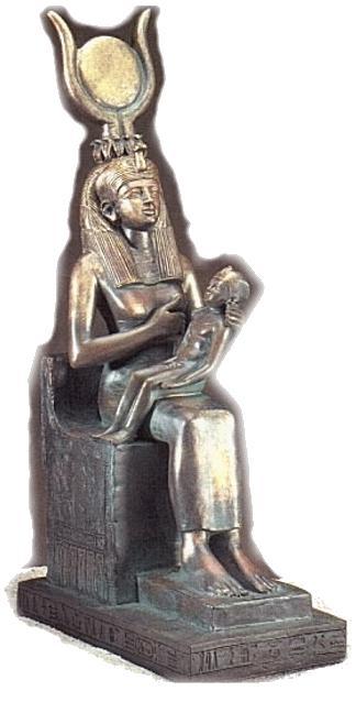 Isis stillt Horus, Sohn auch des Osiris.