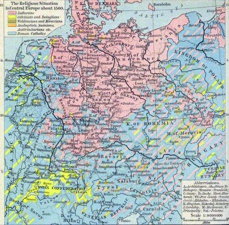 Karte Reformierter in 1560