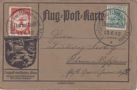 Flugpost am Rhein und am Main Juni 1912