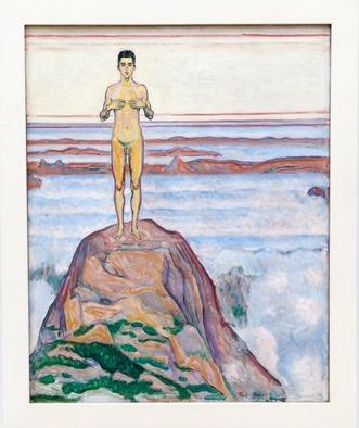 Ferdinand Hodler - Blick in die Unendlichkeit 2 [ein nackter Mann steh auf einem Fels über einer dichten Wolkendecke]