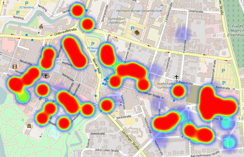 Hier ist was los in Moers. (Open Street Map, Lizenz ODbL)