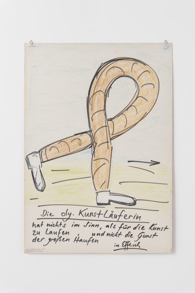 """Fritz Schwegler: MORITAFEL """"Die Kunstläuferin"""" aus der Serie der Olympischen Effeschiaden (1972) Papier und Farbstift / 100 x 70 cm"""