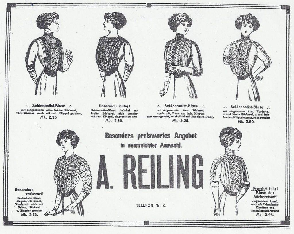 Anzeige Kaufhaus Reiling April 1912