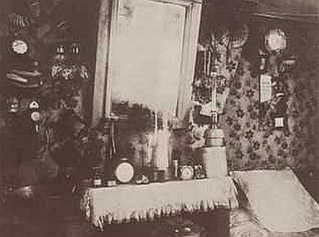 Atget Zimmer einer Arbeiterin Rue de Belleville Ausschnitt