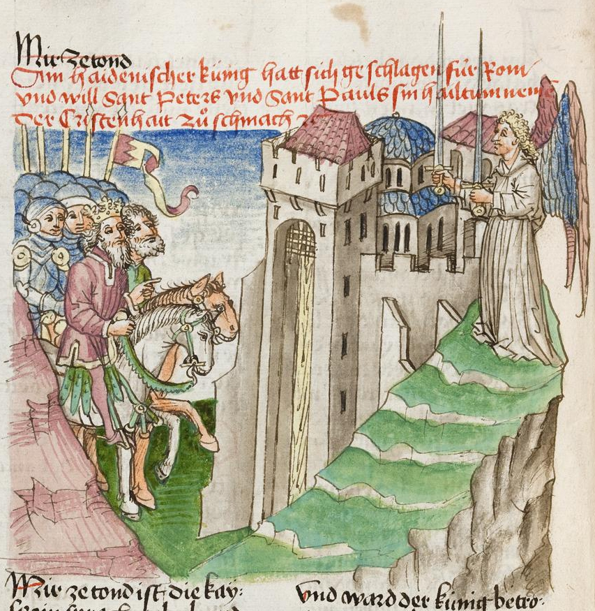 Bild vom Paradies in einer Ausgabe der Gesta Romanorum, Donaueschingen um 1452 (vie Wikimedia Commons)