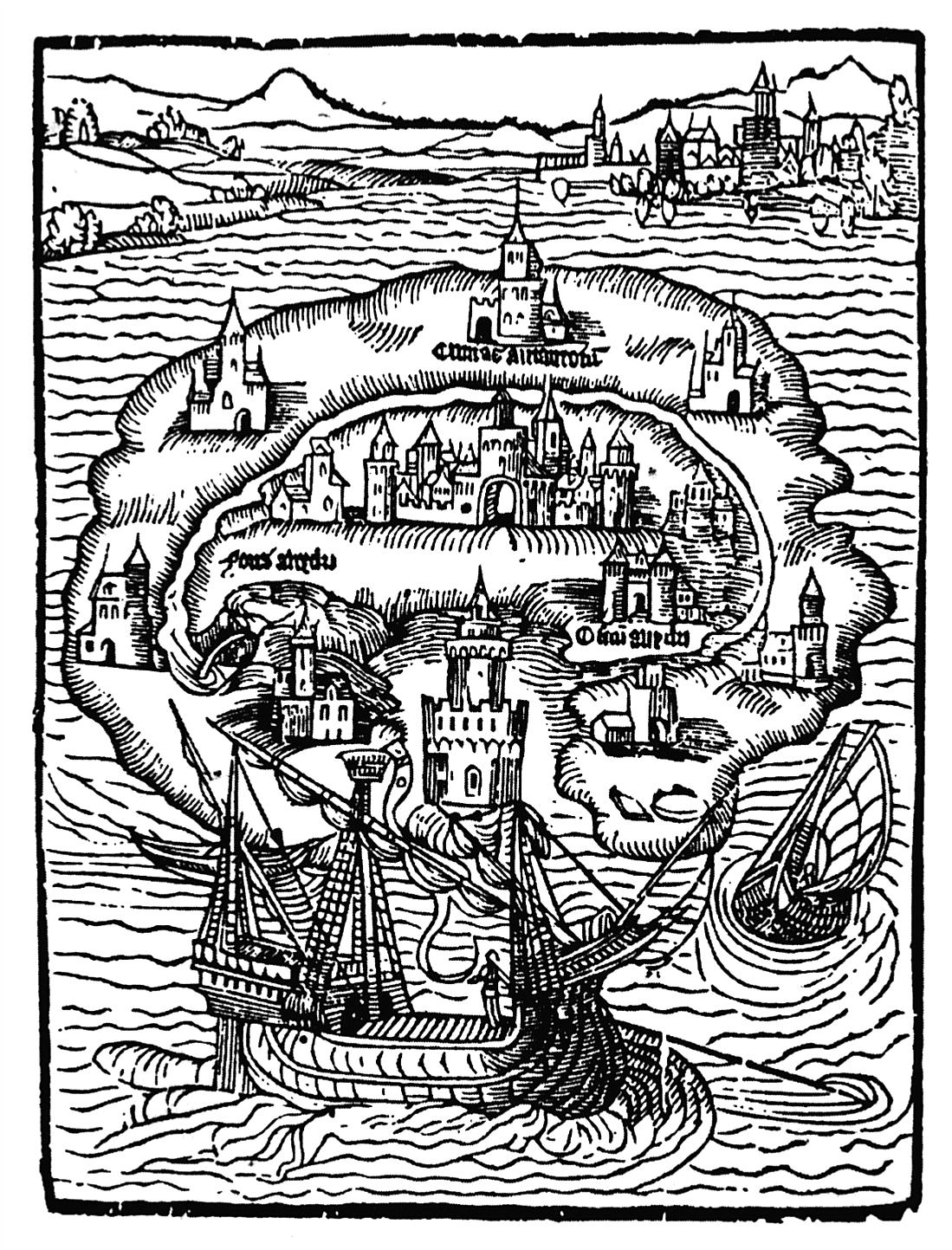 """Titelholzschnitt zu dem Roman """"Utopia"""" von Thomas Morus, 1516 – die Schilderung einer idealen, fernen (aber nicht als zukünftig vorgestellten) Gesellschaft (gemeinfrei, via Wikimedia Commons)"""