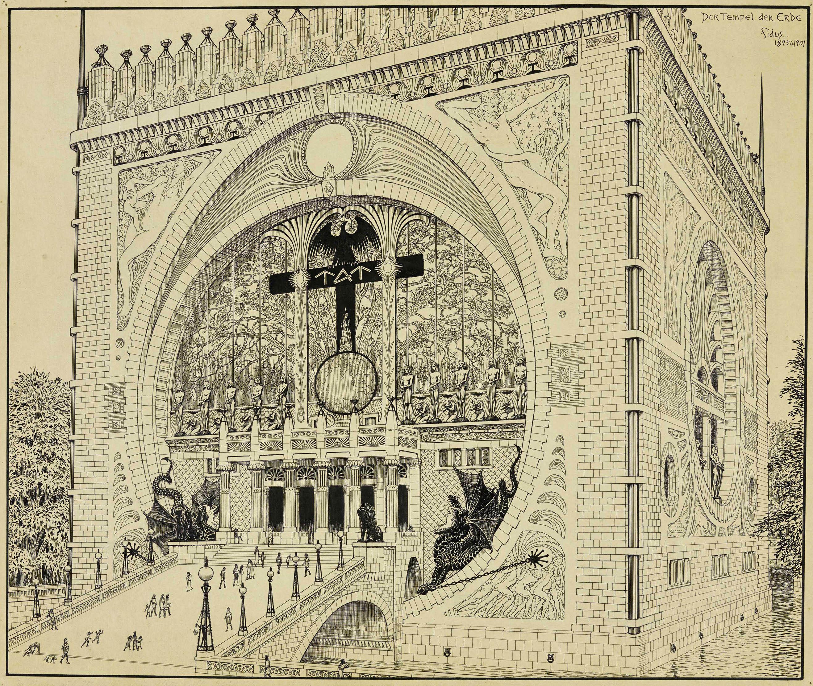 """Fidus, Der Tempel der Erde (1901):1919 bat Walter Gropius Fidus um einige Zeichnungen seiner Traumarchitektur für die """"Ausstellung für unbekannte Architekten"""" – so beeindruckt sich Gropius von Fidus zeigte, so fühlte sich dieser von Gropius jedoch unverstanden, wie der in der Ausstellung gezeigte Briefwechsel belegt."""