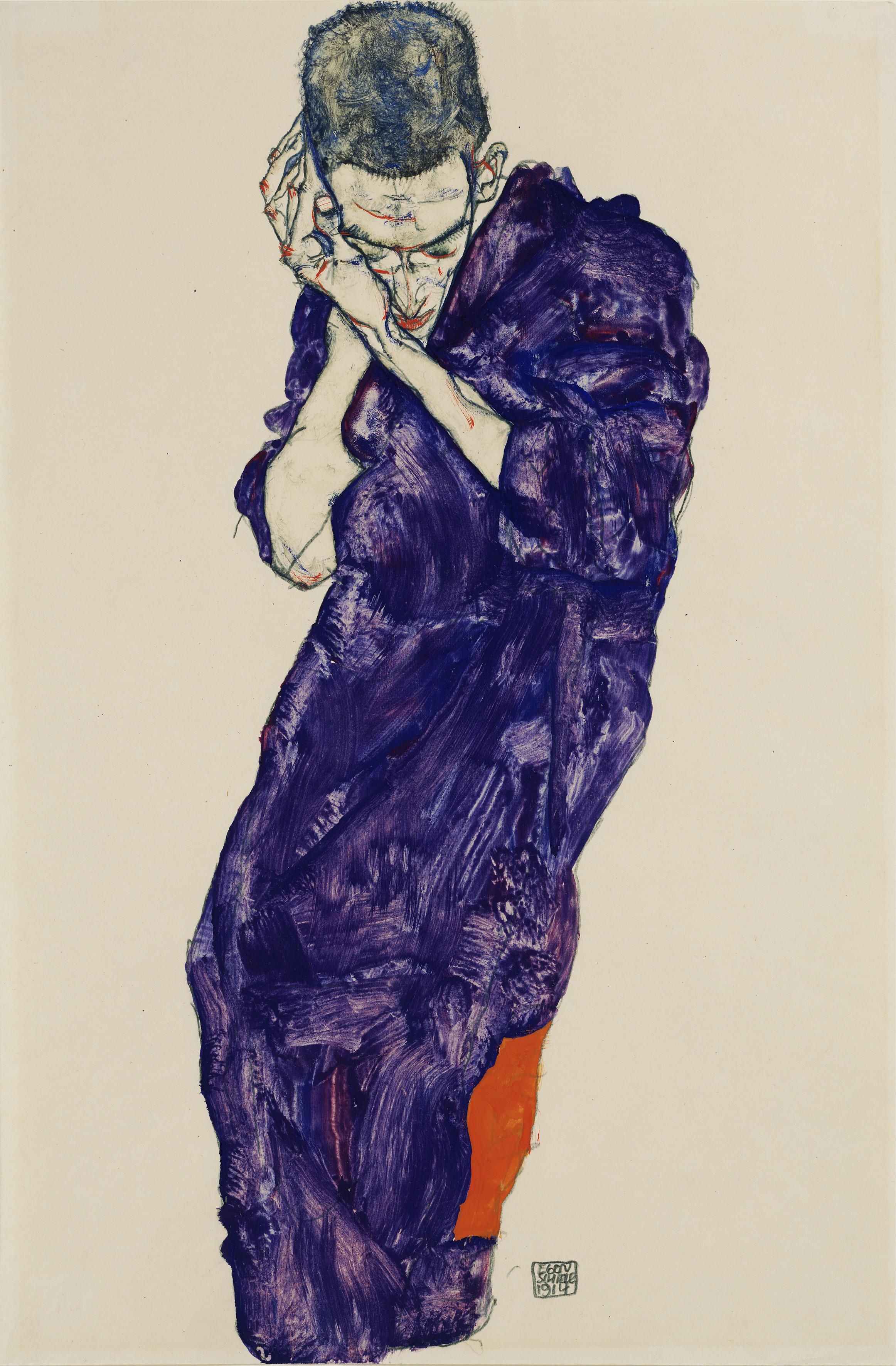 Egon Schiele: Jüngling in violetter Kutte mit verschränkten Händen, 1914 - nicht nur der Erlösungsdrang,sondern auch stilistische Wurzeln lassen sich von Schiele über Fidus bis zu Diefenbach verfolgen.