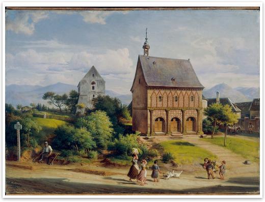 UNESCO-Weltkulturerbe Kloster Lorsch - die Königshalle im Jahr 1859