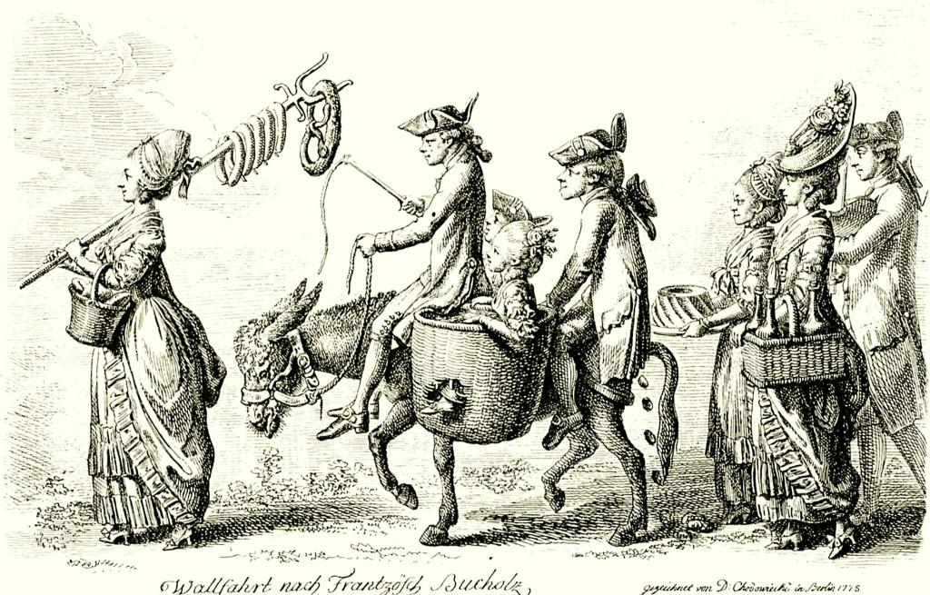 """""""Wallfahrt nach Französisch Bucholz"""", Radierung von Daniel Nikolaus Chodowiecki, 1775:"""