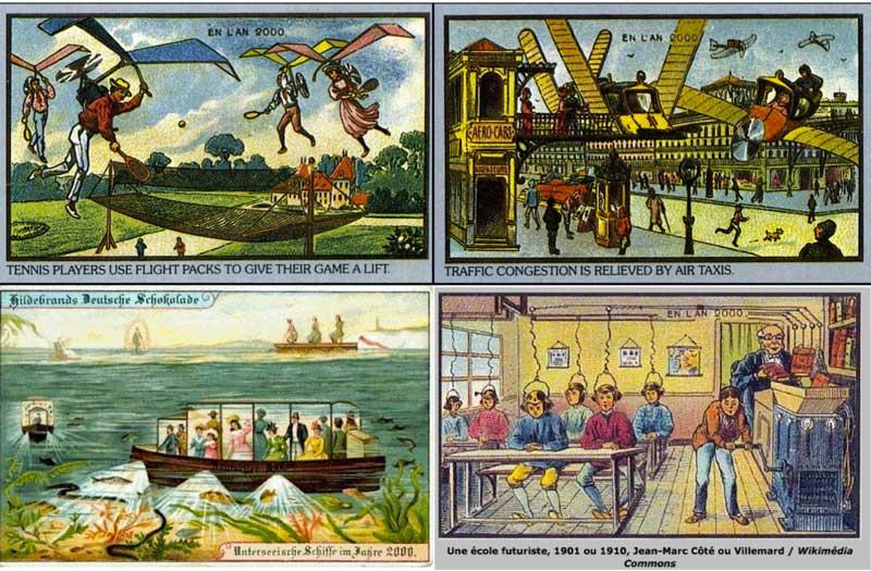 Zukunfsvisionen auf Postkarten etwa um das Jahr 1900 (verschiedene Internetquellen)