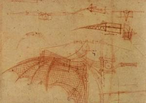 Leonardo da Vincis Zeichnung des Flügels einer Flugmaschine 1505: