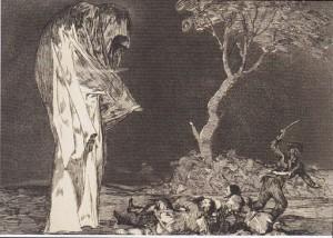 Torheit der Furcht, ein Gemälde von Francisco José de Goya y Lucientes (1746-1828) aus dem Zyklus Los Disparates (Torheiten). Man sieht Soldaten in panischer Flucht vor einer monumentalen Kapuzengestalt davoneilen. Mit dieser Figur, die sich erst auf den zweiten Blick als Attrape erweist - denn ihr Auftritt wird offenbar von jener grinsenden Figur, die aus einer Kleiderfalte hervorlugt, inszeniert.