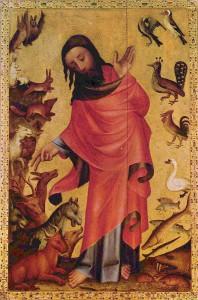 Abbildung 3: Meister Bertram: Grabower Altar (1375–1383), Szene: Die Erschaffung der Tiere Auf der Tafel, die sich der Schöpfung der Tiere widmet, gibt Meister Bertram einen Überblick über die Fülle der Tierwelt, in einer Zeit, als der Mensch noch nicht auf Erden wandelt. Im Zentrum des auf Goldgrund gemalten Bildes waltet der Schöpfergott in Gestalt Jesu. Auf der linken Seite des Bildes befinden sich die Tiere des Landes, rechts unten die des Wassers und oben die Vögel.