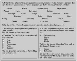 Abbildung 1: Beispiele für die drei Aufgaben des Fragebogens