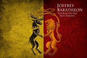 Joffrey Baratheon, der König auf dem Eisernen Thron, gründete das Haus Baratheon von Königsmund. Als ältester Sohn und Nachkomme von König Robert und Königin Cersei stand ihm nach dem Recht von Westeros der Thron zu. Joffreys Wappen zeigt auf der linken Seite den Hirsch seines Vaters Robert Baratheon und auf der rechten Seite den Löwen seiner Mutter Cersei Lennister.