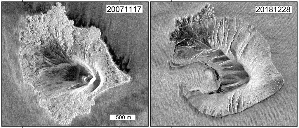 Anak Krakatau vor und nach dem Flankenkollaps. Daten: TerraSAR-X (DLR), Bildbearbeitung: GFZ