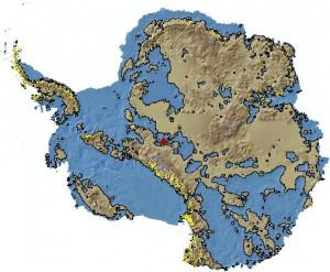 Große Teile der antarktischen Eisschilde liegen in Gebieten unter dem Meeresspiegel. Bild: U. of Texas/BEDMAP/Antarctic Digital Database