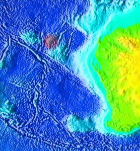 Der Meeresboden vor Westaustralien. Rot markiert: Der Quokka Rise. Bild: NOAA