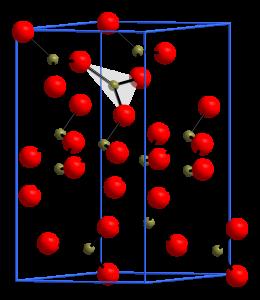 Bild: Andif1, Elementarzelle von B2O3 in Raumgruppe P31</sub>21, CC BY-SA 3.0