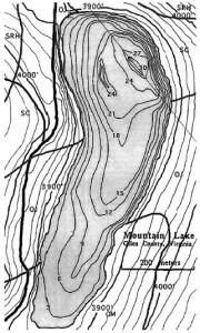 Tiefenkarte des Mountain Lake. Cawley, Parker & Perren,  Earth Surf. Process. Landforms 26, 429–440 (2001)