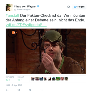 Screenshot von https://twitter.com/clausvonwagner/status/718066337818533888