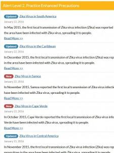 Zika-Reisewarnungen des CDC