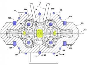 Abb. 5: Querschnitt durch das Experiment gemäß dem CFR-Konzept, blau eingefärbt die Magnetfeldspulen, gelb eingefärbt die magnetischen Täler (Bild ursprünglich von US Patent 20140301519 http://www.freepatentsonline.com/y2014/0301519.html