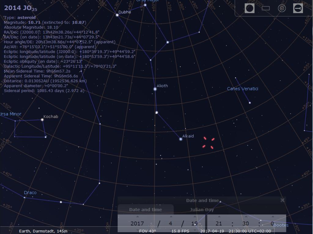 Die Sichtbarkeit von Asteroid 2014 JO25, hier simuliert für Darmstadt um 21:30 MESZ
