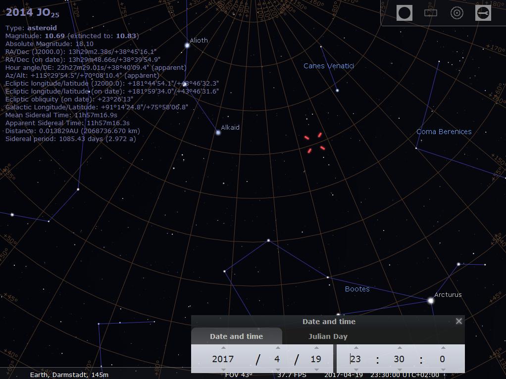 Die Sichtbarkeit von Asteroid 2014 JO25, hier simuliert für Darmstadt um 23:30 MESZ