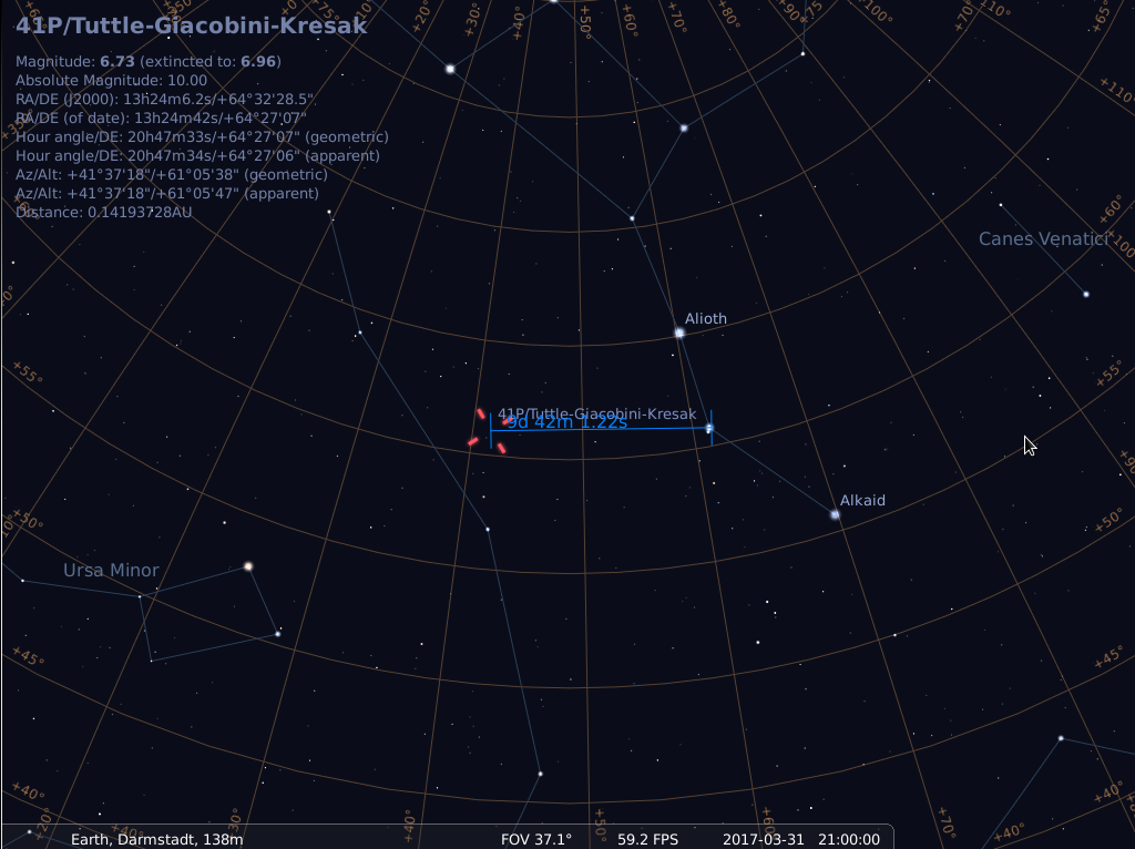 Komet 41P/Tuttle-Giacobini-Kresak am 31.3.2017, simuliert für Darmstadt um 21:00 UTC (=23:00 MESZ)