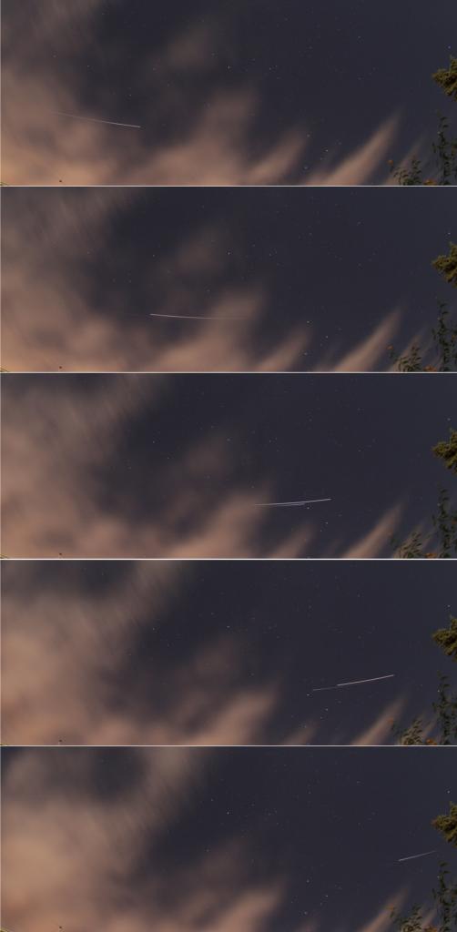 """Die ISS und das ATV-5 """"Georges Lemaître"""" im Formationsflug am 8.8.2014, 23:29 - 23:31 MESZ. Canon EOS 1000D, Sigma EX 10 mm, f2.8, ISO 400, je 20 s"""