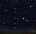 Der westliche Abendhimmel am 4.4.2014 um 22:00 MESZ, simuliert für Darmstadt,