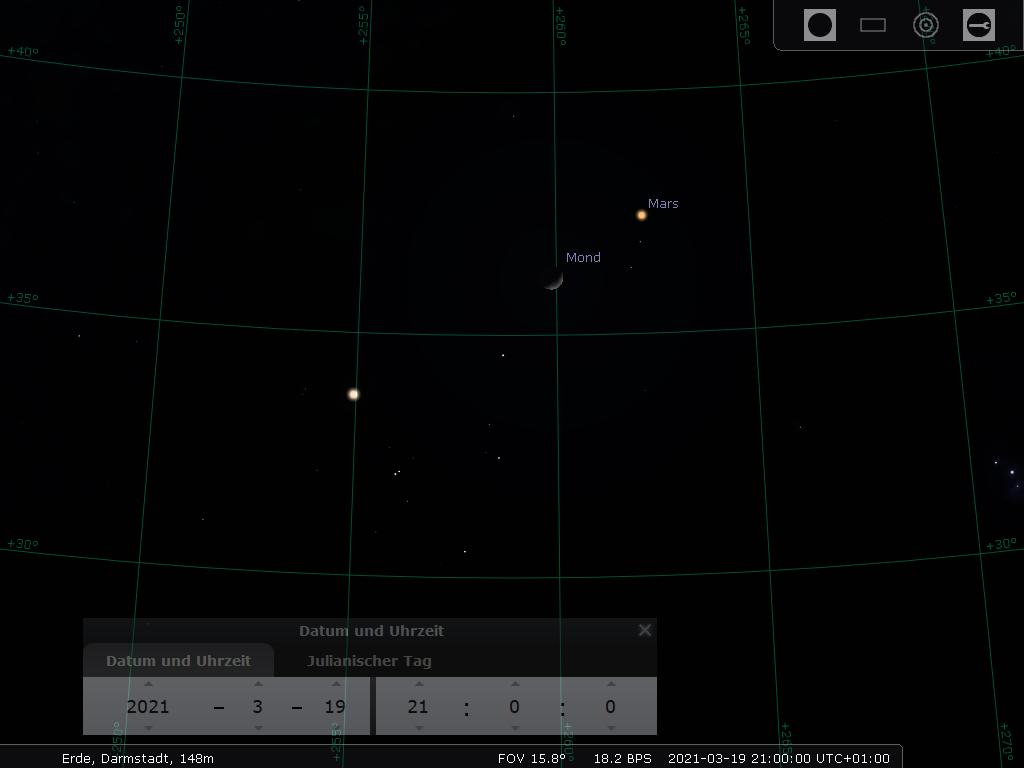 Die zunehmende Mondsichel und Mars im Stier am Abend des 19.3.2021, hier simuliert für Darmstadt um 21:00 MEZ