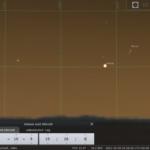 Antares, Venus und zunehmende Mondsichel am Abend des Samstag, 9. Oktober 2021, simuliert für Darmstadt um 19:26 MESZ, Quelle: Michael Khan, Darmstadt via Stellarium