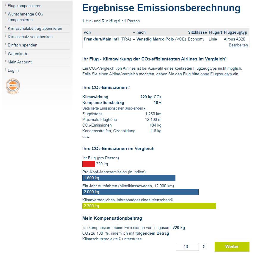 Berechnung der CO2-Emissionen für einen Linienflug von Frankfurt nach Venedig und zurück, Quelle: atmosfair.de