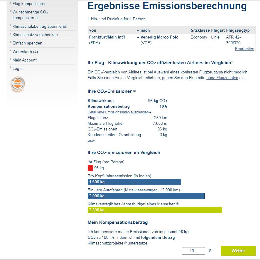 Berechnung der CO2-Emissionen für einen Linienflug von Frankfurt nach Venedig und zurück mit Propellerturbnenflugzeug, Quelle: atmosfair.de
