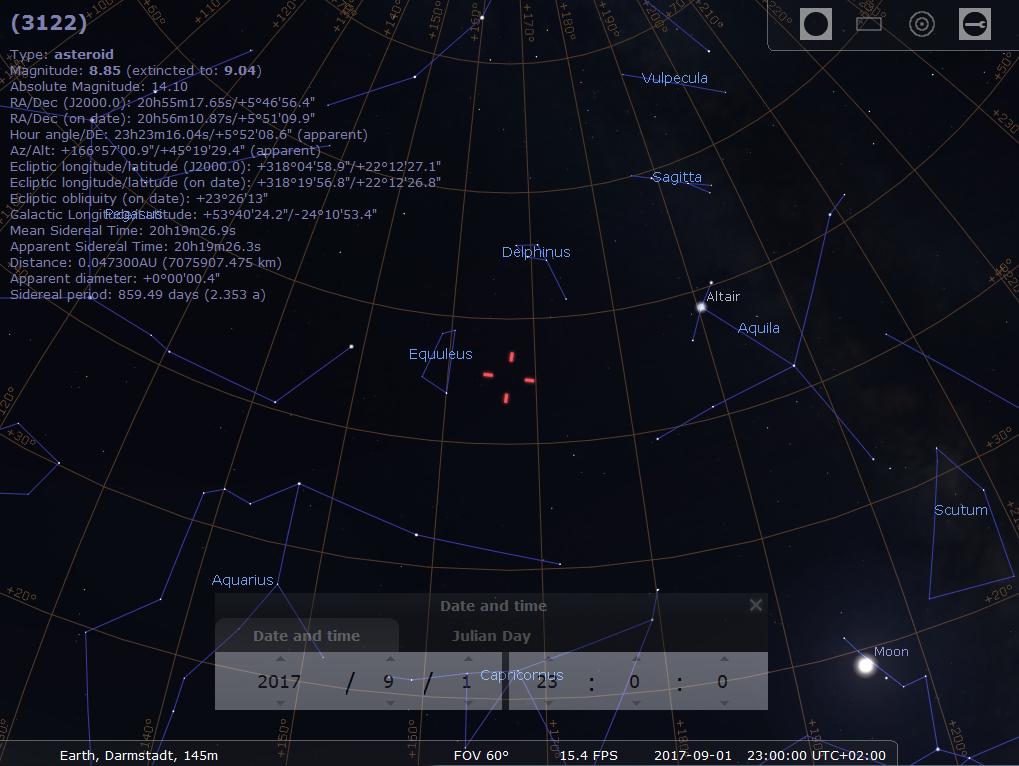 Asteroid 3122/Florence am Abend des 1.9.2017, hier simuliert für Darmstadt um 23:00 MESZ