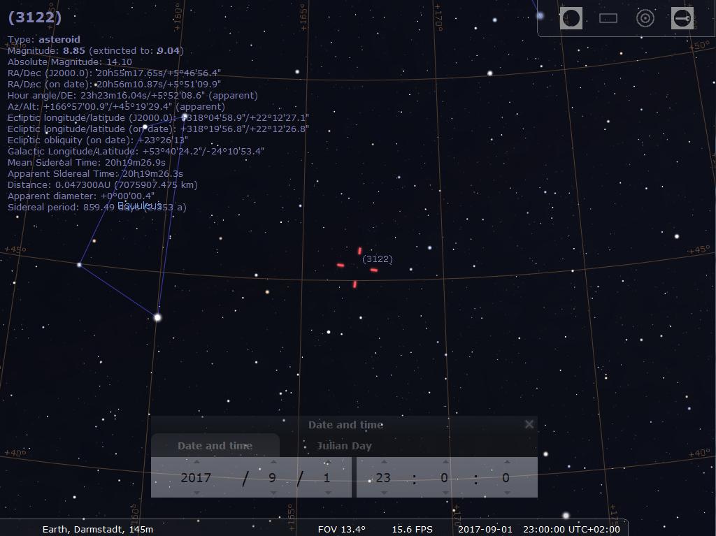 Asteroid 3122/Florence am Abend des 1.9.2017, hier simuliert für Darmstadt um 23:00 MESZ. Hereingezoomte Darstellung