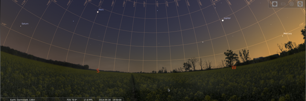 Abendhimmel mit vier Planeten am 16.5.2014, simuliert für Darmstadt um 19:50 UTC (21:50 MESZ)