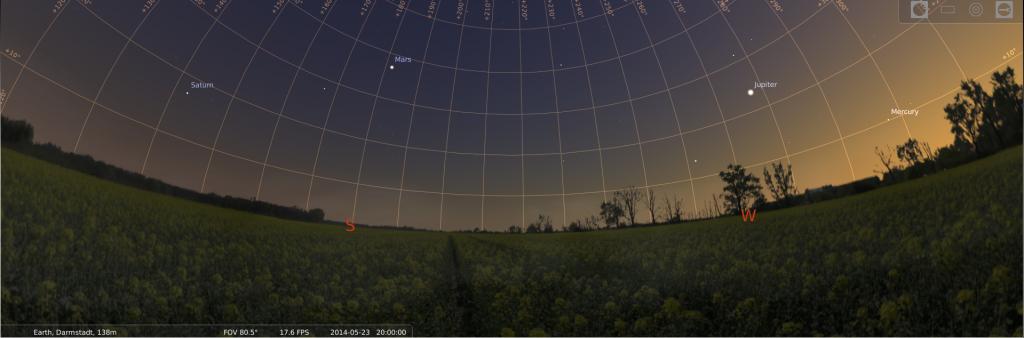 Abendhimmel mit vier Planeten am 23.5.2014, simuliert für Darmstadt um 20:00 UTC (22:00 MESZ)