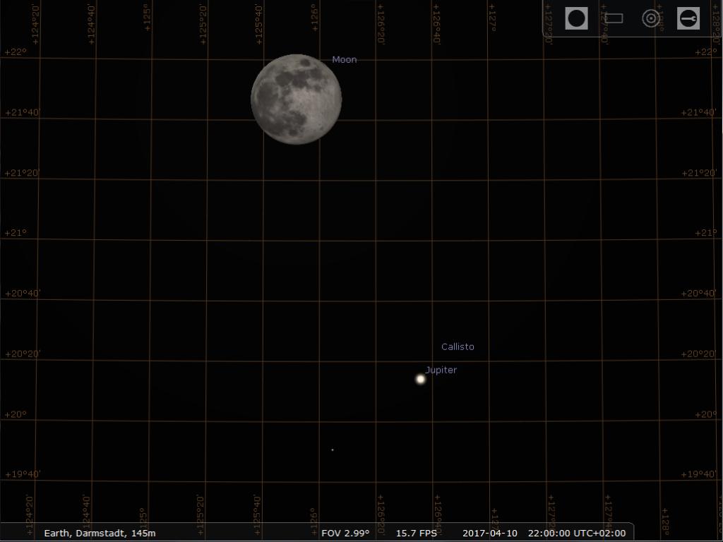 Der Vollmond und Jupiter in Konjunktion am 10.4.2017, hier simuliert für Darmstadt um 22:00 MESZ