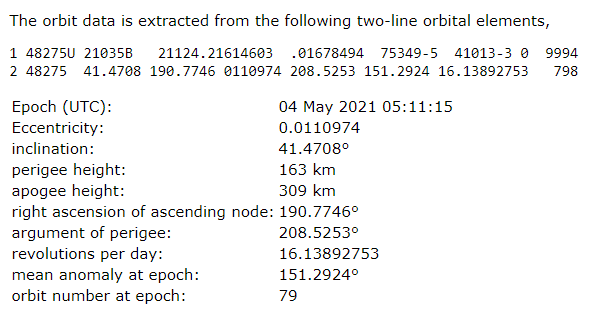 Today's orbit determination result for object 2021-035-B, source: heavens-above.com
